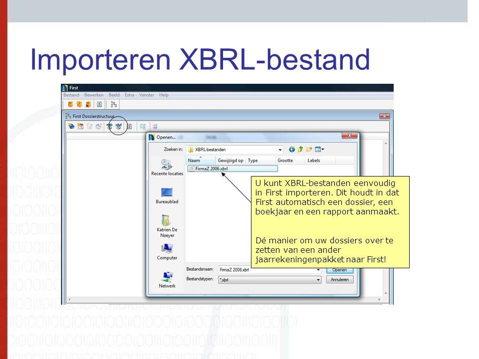 Importeren XBRL-bestand U kunt XBRL-bestanden eenvoudig in First importeren. Dit houdt in dat First automatisch een dossier, een boekjaar en een rappo