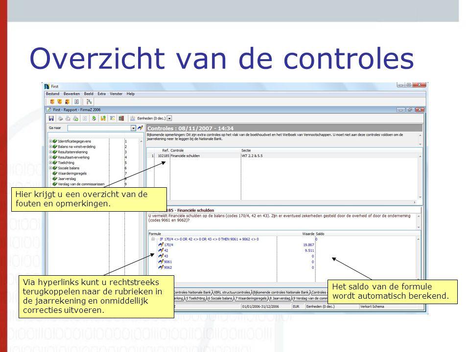 Overzicht van de controles Via hyperlinks kunt u rechtstreeks terugkoppelen naar de rubrieken in de jaarrekening en onmiddellijk correcties uitvoeren.