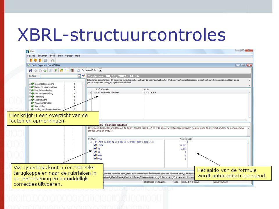XBRL-structuurcontroles Via hyperlinks kunt u rechtstreeks terugkoppelen naar de rubrieken in de jaarrekening en onmiddellijk correcties uitvoeren. Hi