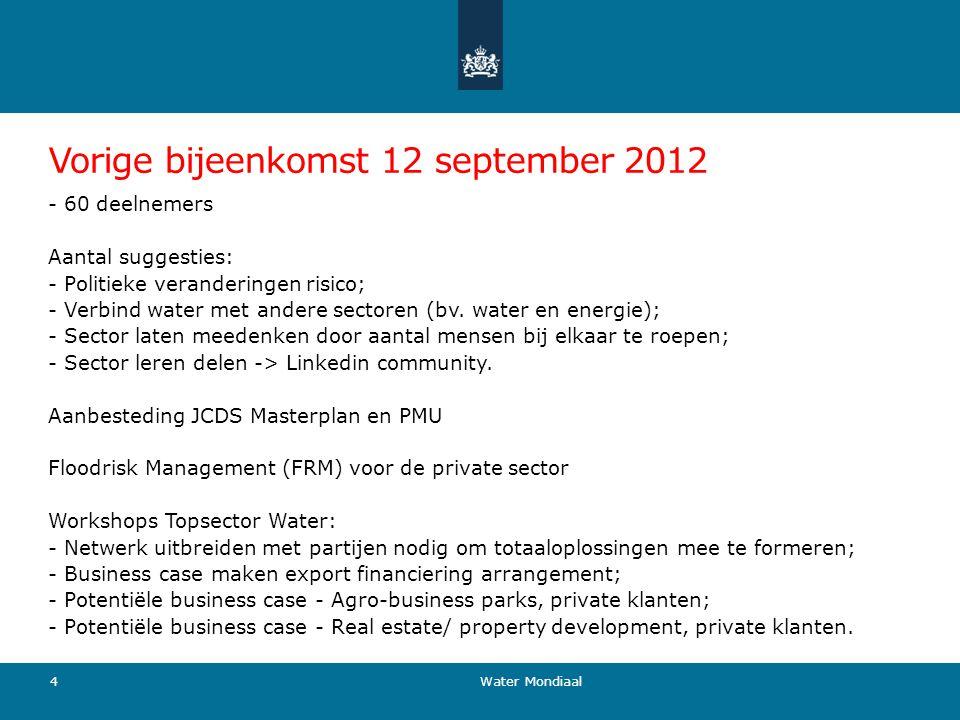 Vorige bijeenkomst 12 september 2012 - 60 deelnemers Aantal suggesties: - Politieke veranderingen risico; - Verbind water met andere sectoren (bv. wat