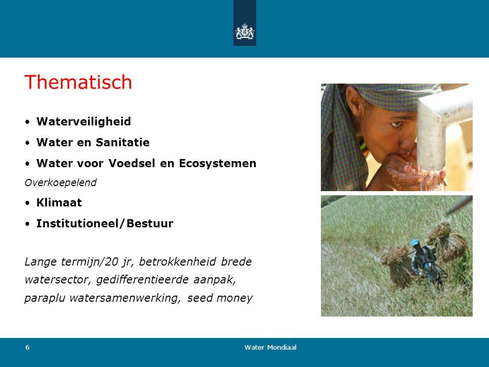 Thematisch Waterveiligheid Water en Sanitatie Water voor Voedsel en Ecosystemen Overkoepelend Klimaat Institutioneel/Bestuur Lange termijn/20 jr, betr