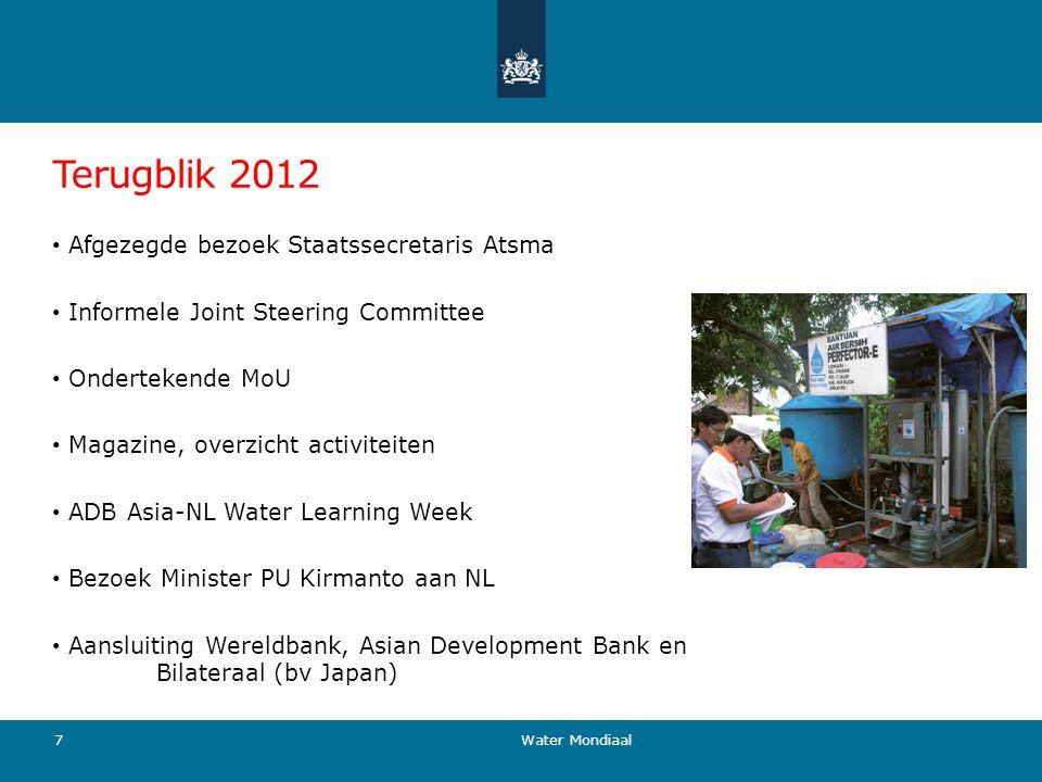 Terugblik 2012 Afgezegde bezoek Staatssecretaris Atsma Informele Joint Steering Committee Ondertekende MoU Magazine, overzicht activiteiten ADB Asia-N