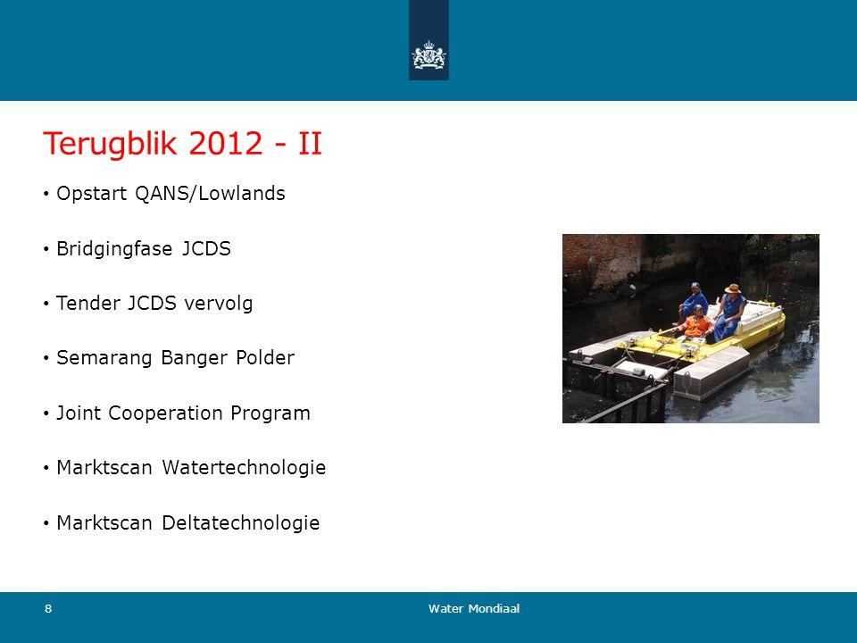 Terugblik 2012 - II Opstart QANS/Lowlands Bridgingfase JCDS Tender JCDS vervolg Semarang Banger Polder Joint Cooperation Program Marktscan Watertechno