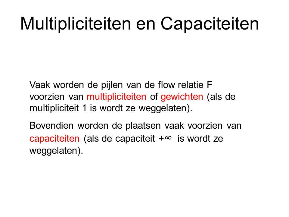 Vaak worden de pijlen van de flow relatie F voorzien van multipliciteiten of gewichten (als de multipliciteit 1 is wordt ze weggelaten).