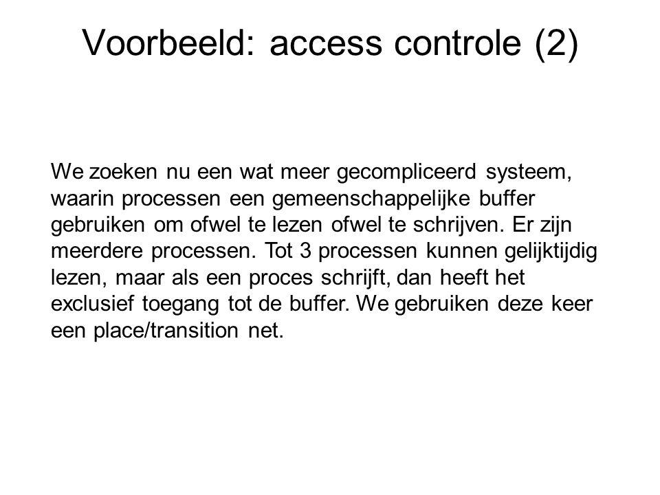 Voorbeeld: access controle (2) We zoeken nu een wat meer gecompliceerd systeem, waarin processen een gemeenschappelijke buffer gebruiken om ofwel te lezen ofwel te schrijven.