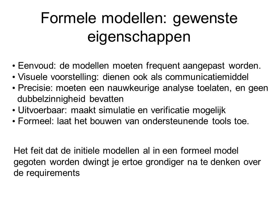 Formele modellen: gewenste eigenschappen Eenvoud: de modellen moeten frequent aangepast worden.
