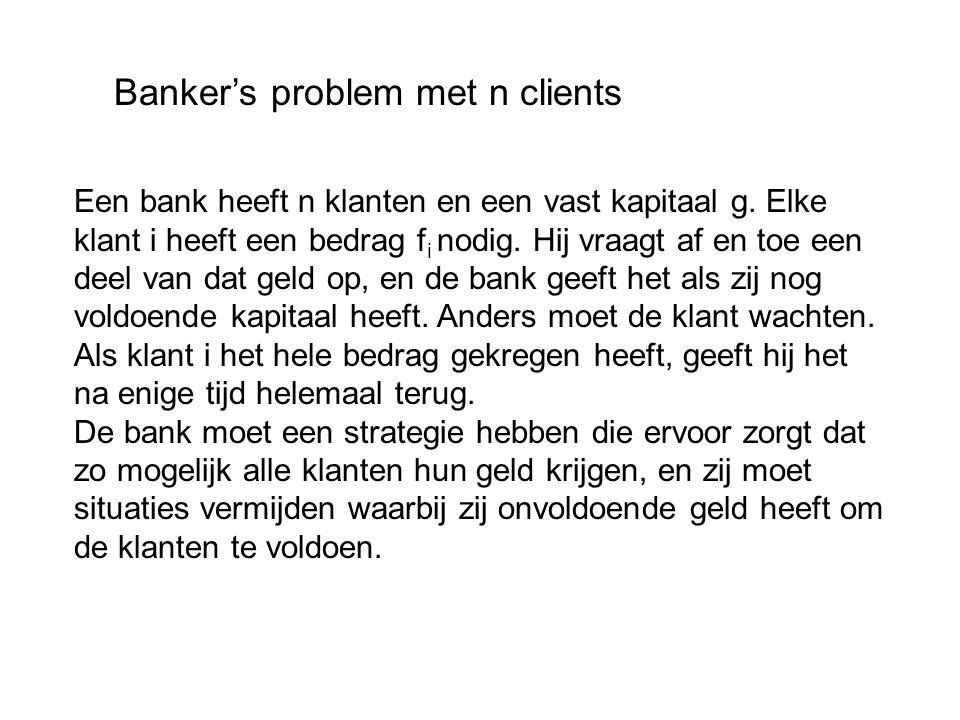 Banker's problem met n clients Een bank heeft n klanten en een vast kapitaal g.