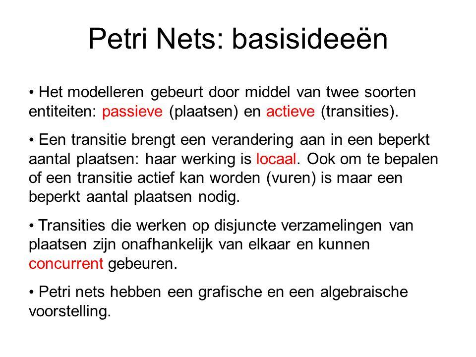 Petri Nets: basisideeën Het modelleren gebeurt door middel van twee soorten entiteiten: passieve (plaatsen) en actieve (transities).