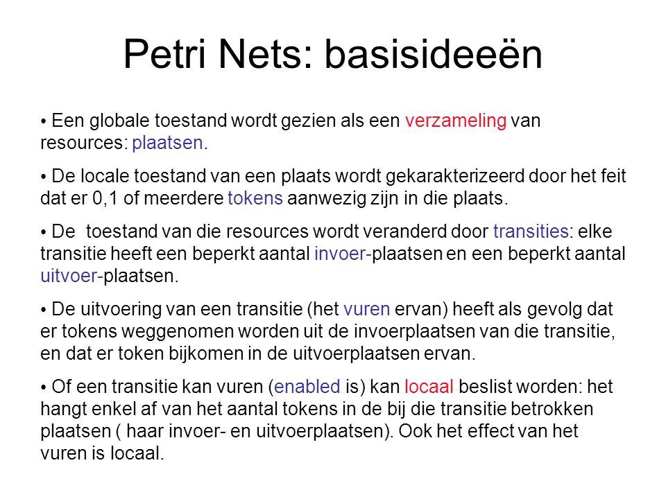 Petri Nets: basisideeën Een globale toestand wordt gezien als een verzameling van resources: plaatsen.