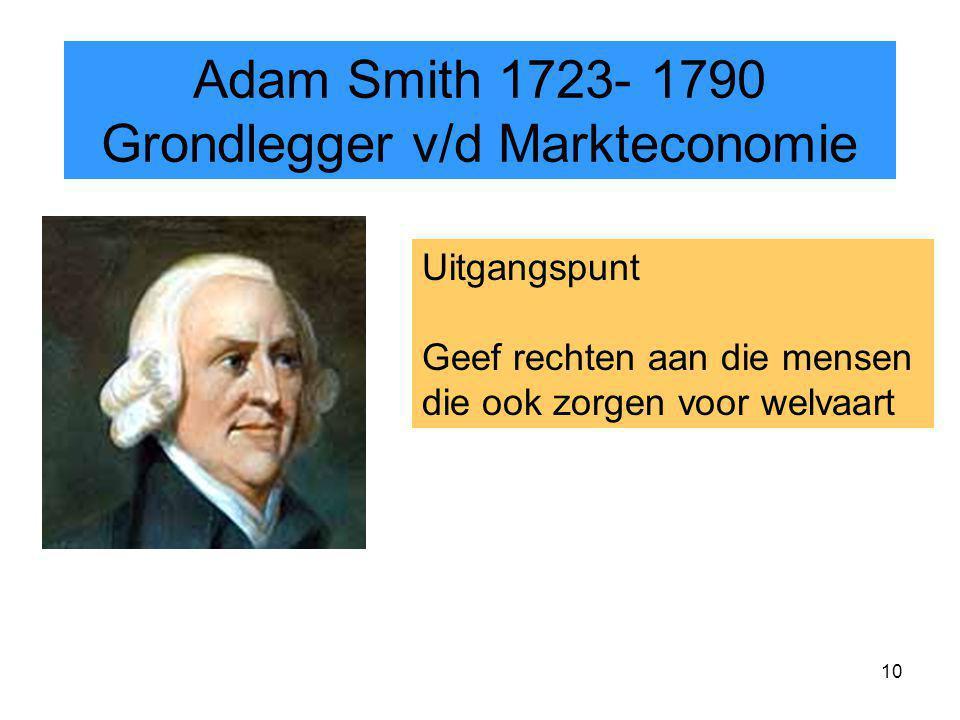 10 Uitgangspunt Geef rechten aan die mensen die ook zorgen voor welvaart Adam Smith 1723- 1790 Grondlegger v/d Markteconomie