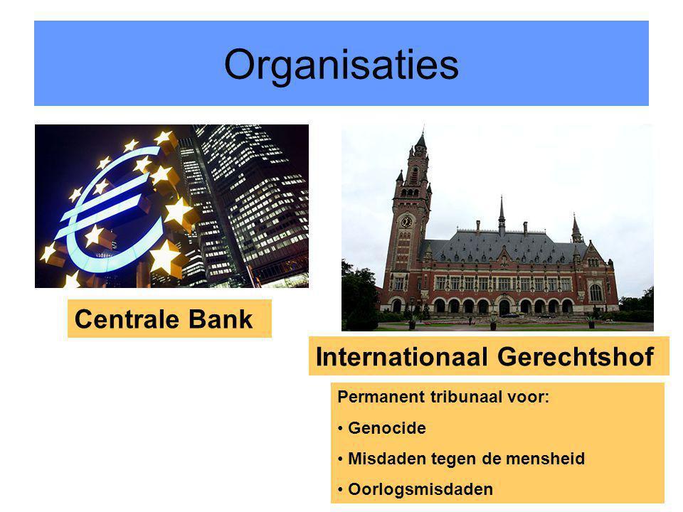 11 Organisaties Centrale Bank Internationaal Gerechtshof Permanent tribunaal voor: Genocide Misdaden tegen de mensheid Oorlogsmisdaden