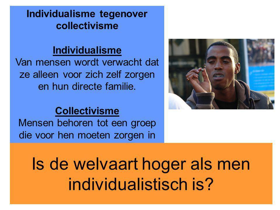 17 Individualisme tegenover collectivisme Individualisme Van mensen wordt verwacht dat ze alleen voor zich zelf zorgen en hun directe familie. Collect