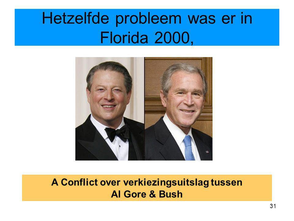 31 Hetzelfde probleem was er in Florida 2000, A Conflict over verkiezingsuitslag tussen Al Gore & Bush