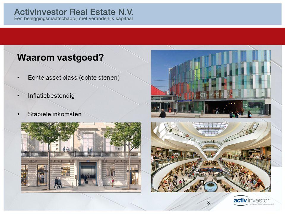 Waarom vastgoed Echte asset class (echte stenen) Inflatiebestendig Stabiele inkomsten 8