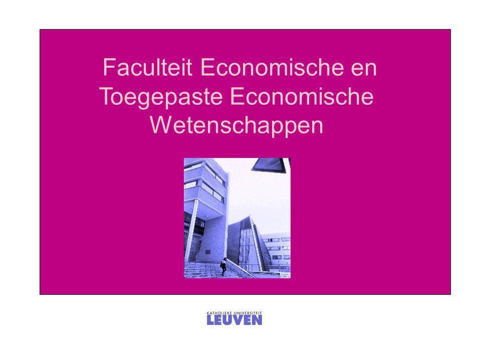 Vier opleidingen  Economische wetenschappen (EW)  Toegepaste economische wetenschappen (TEW)  Toegepaste economische wetenschappen: Handelsingenieur (HIR)  Toegepaste economische wetenschappen: Handelsingenieur in de beleidsinformatica (HIRB)