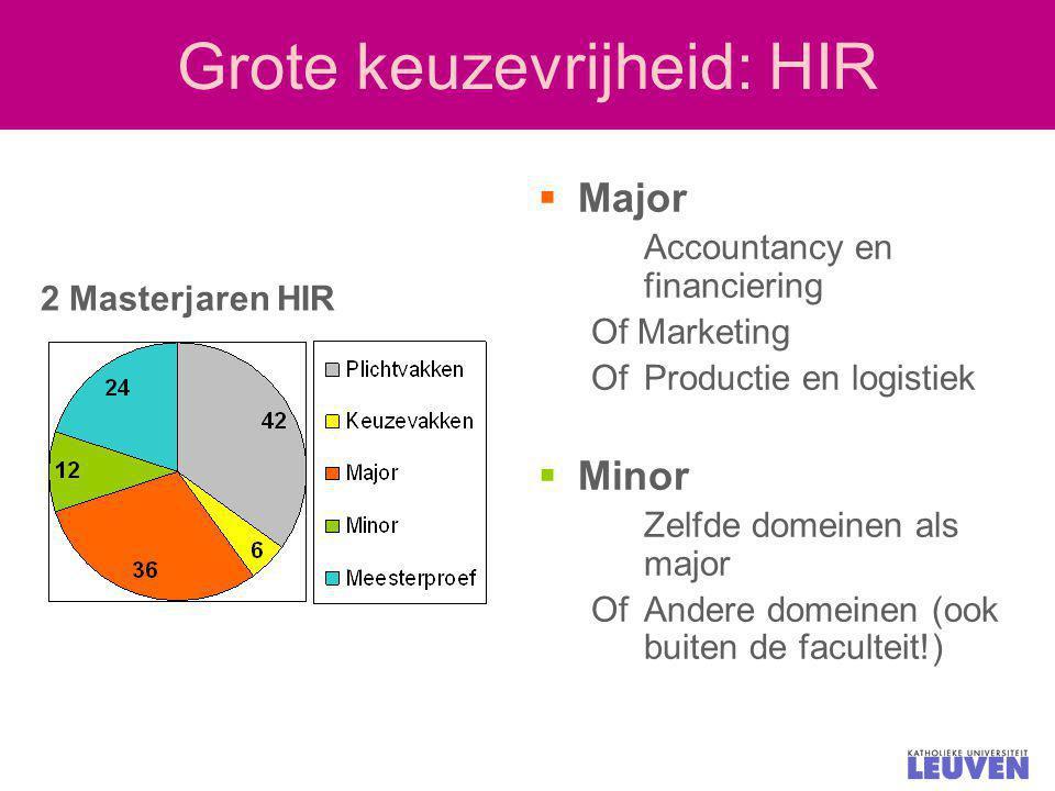 Grote keuzevrijheid: HIR  Major Accountancy en financiering Of Marketing OfProductie en logistiek  Minor Zelfde domeinen als major OfAndere domeinen