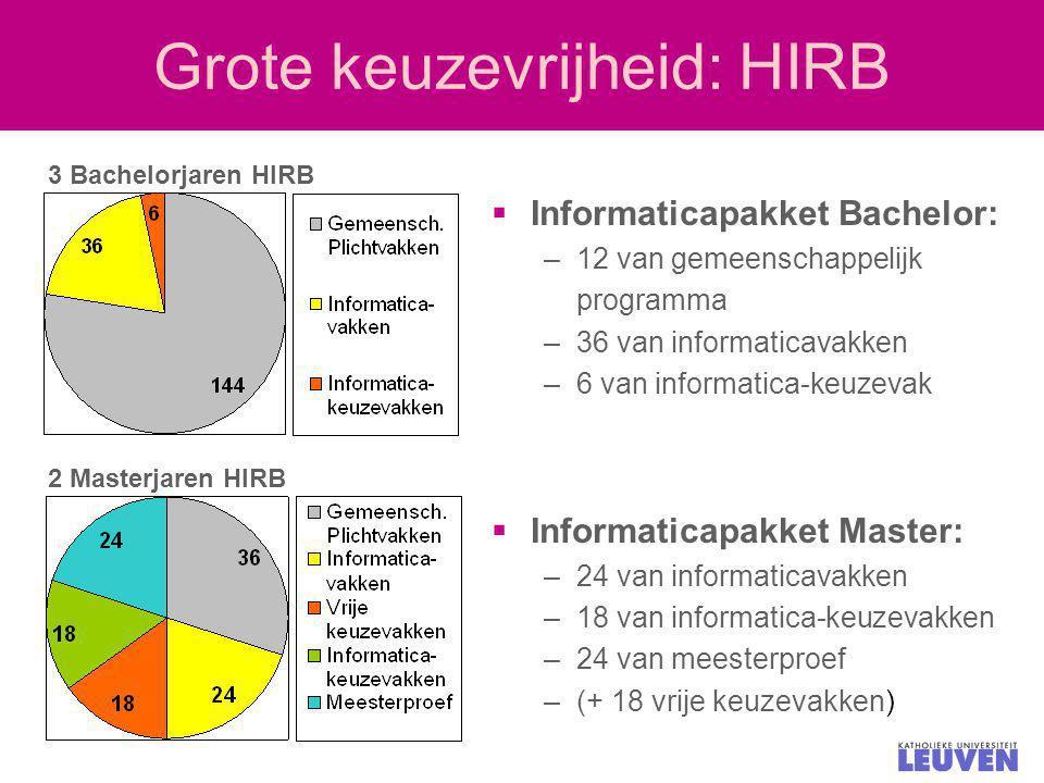 Grote keuzevrijheid: HIRB  Informaticapakket Bachelor: –12 van gemeenschappelijk programma –36 van informaticavakken –6 van informatica-keuzevak  In