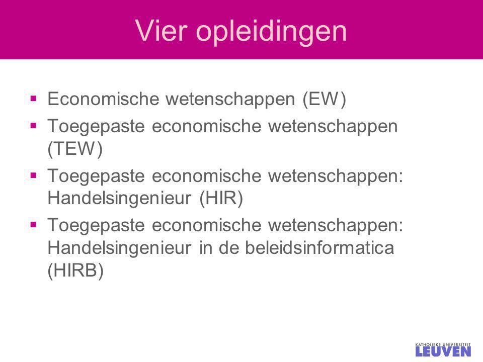 Vier opleidingen  Economische wetenschappen (EW)  Toegepaste economische wetenschappen (TEW)  Toegepaste economische wetenschappen: Handelsingenieu