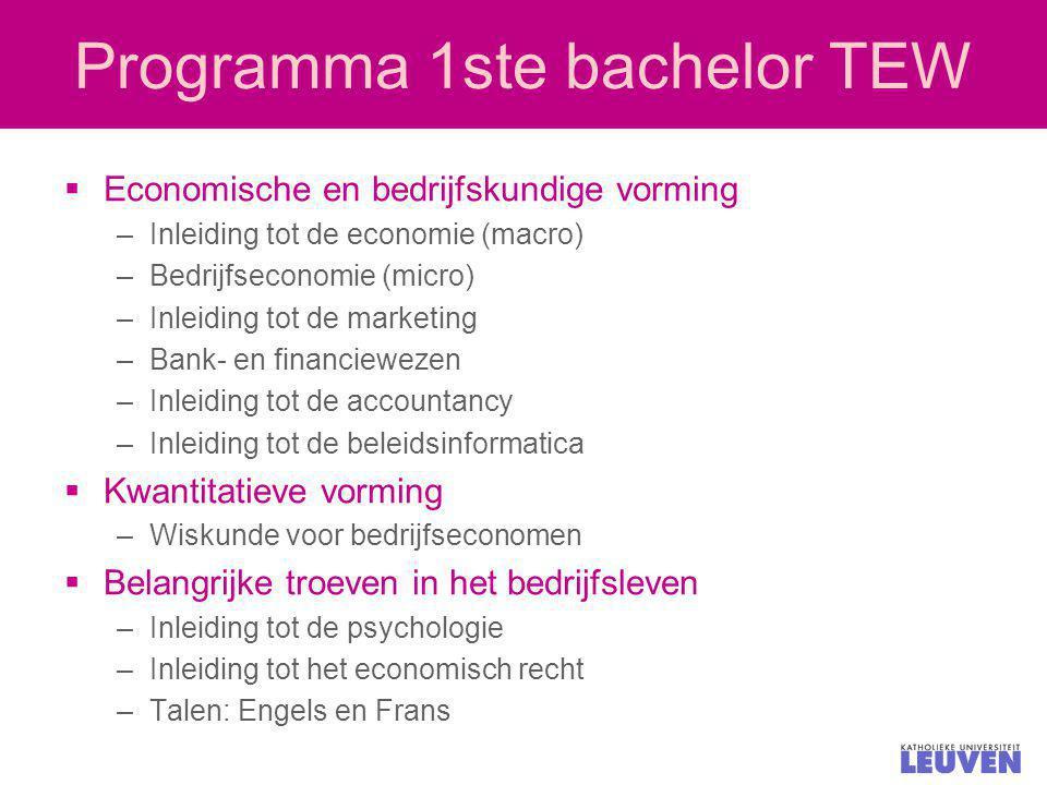 Programma 1ste bachelor TEW  Economische en bedrijfskundige vorming –Inleiding tot de economie (macro) –Bedrijfseconomie (micro) –Inleiding tot de ma