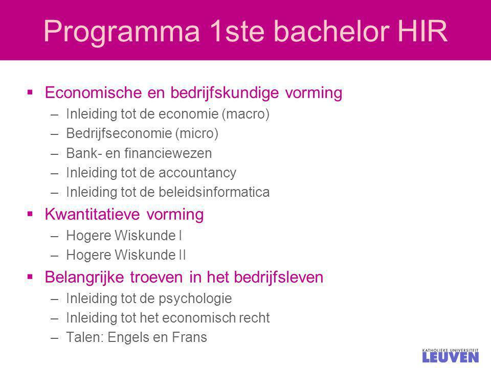 Programma 1ste bachelor HIR  Economische en bedrijfskundige vorming –Inleiding tot de economie (macro) –Bedrijfseconomie (micro) –Bank- en financiewe