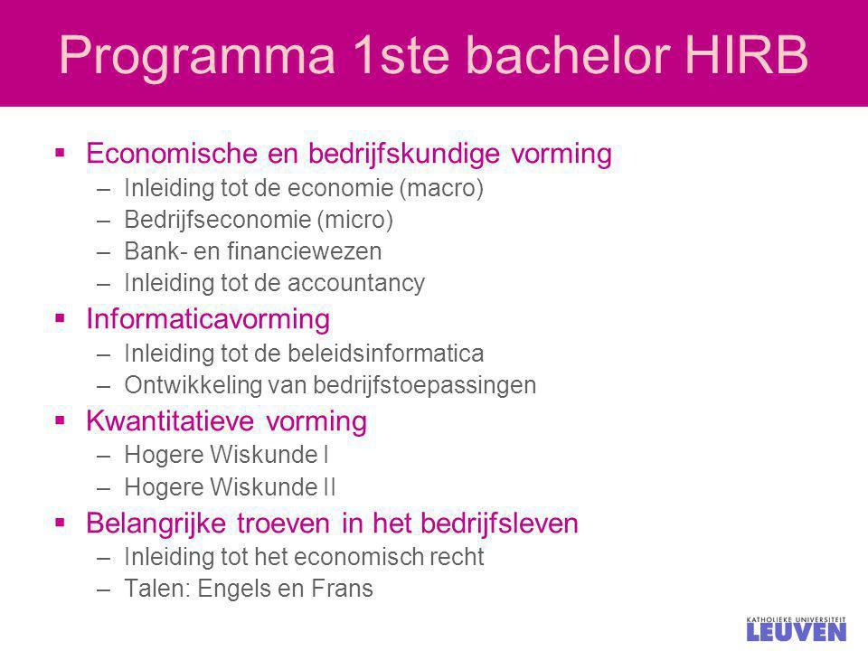 Programma 1ste bachelor HIRB  Economische en bedrijfskundige vorming –Inleiding tot de economie (macro) –Bedrijfseconomie (micro) –Bank- en financiew