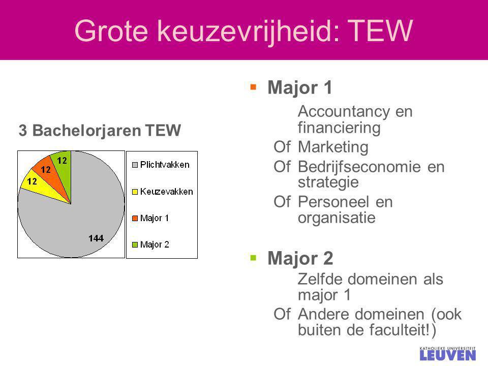 Grote keuzevrijheid: TEW  Major 1 Accountancy en financiering Of Marketing Of Bedrijfseconomie en strategie Of Personeel en organisatie  Major 2 Zel