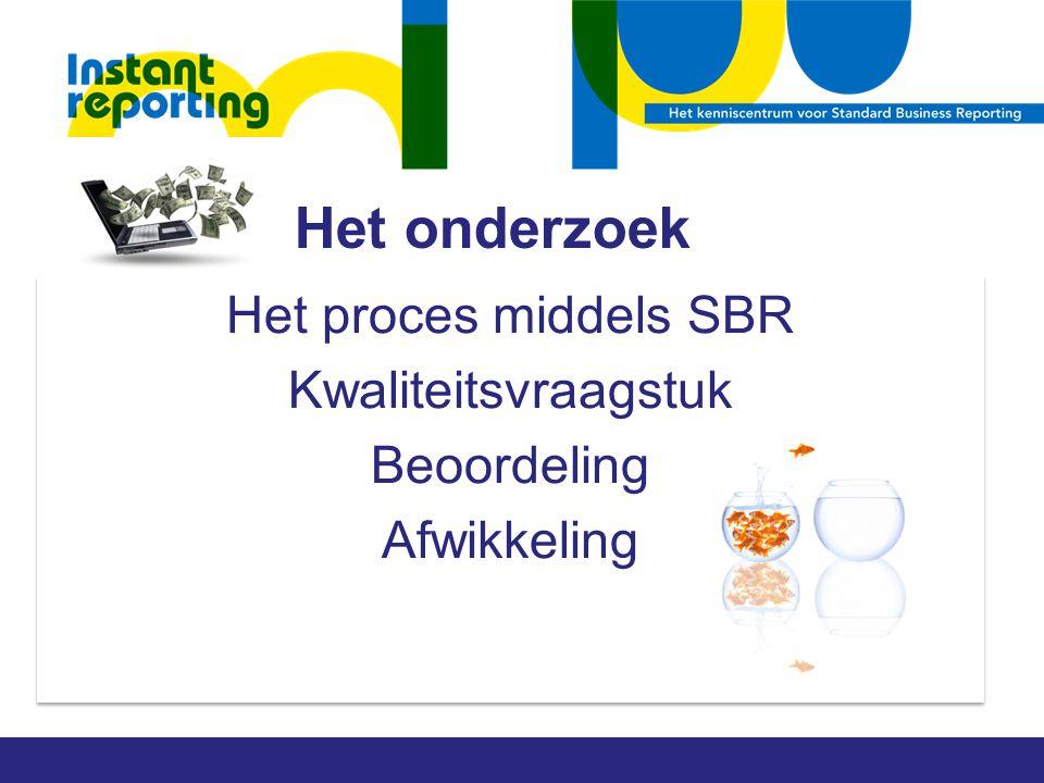 Het onderzoek Het proces middels SBR Kwaliteitsvraagstuk Beoordeling Afwikkeling Het proces middels SBR Kwaliteitsvraagstuk Beoordeling Afwikkeling