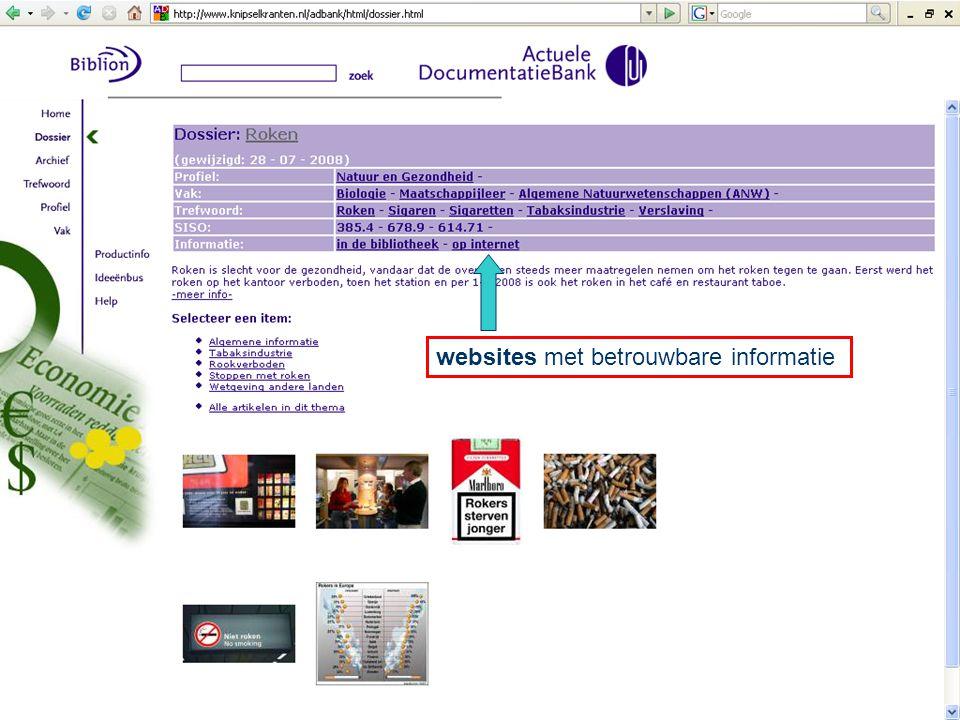 websites met betrouwbare informatie