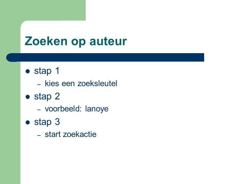 Zoeken op auteur stap 1 – kies een zoeksleutel stap 2 – voorbeeld: lanoye stap 3 – start zoekactie