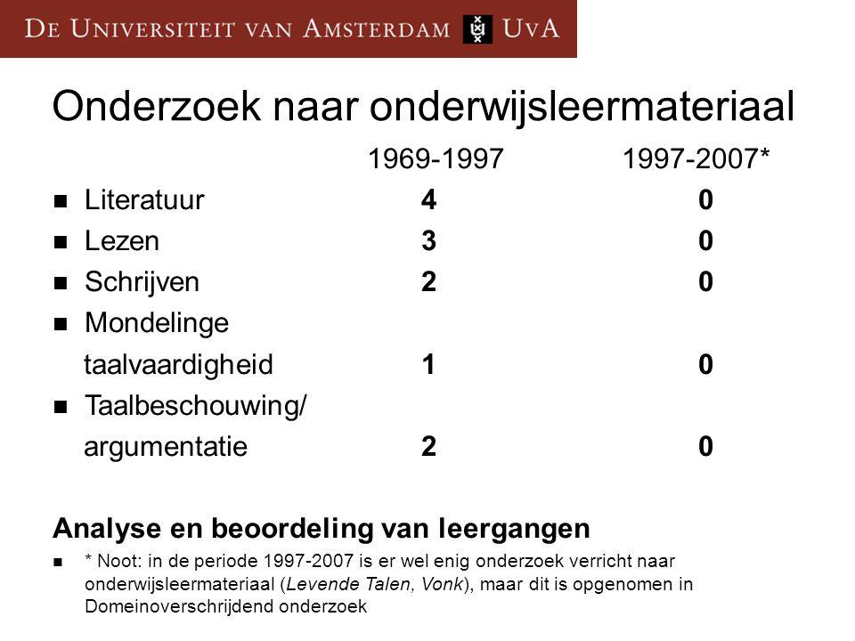 Onderzoek naar onderwijsleermateriaal 1969-1997 1997-2007* Literatuur40 Lezen30 Schrijven20 Mondelinge taalvaardigheid10 Taalbeschouwing/ argumentatie