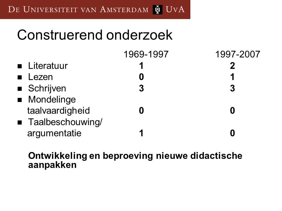 Construerend onderzoek 1969-1997 1997-2007 Literatuur12 Lezen01 Schrijven33 Mondelinge taalvaardigheid00 Taalbeschouwing/ argumentatie10 Ontwikkeling
