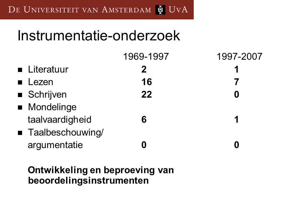 Instrumentatie-onderzoek 1969-1997 1997-2007 Literatuur21 Lezen167 Schrijven220 Mondelinge taalvaardigheid 61 Taalbeschouwing/ argumentatie00 Ontwikke