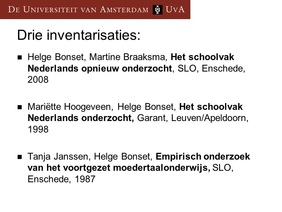 Drie inventarisaties: Helge Bonset, Martine Braaksma, Het schoolvak Nederlands opnieuw onderzocht, SLO, Enschede, 2008 Mariëtte Hoogeveen, Helge Bonse
