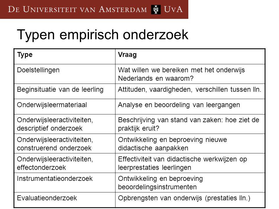 Typen empirisch onderzoek TypeVraag DoelstellingenWat willen we bereiken met het onderwijs Nederlands en waarom? Beginsituatie van de leerlingAttitude