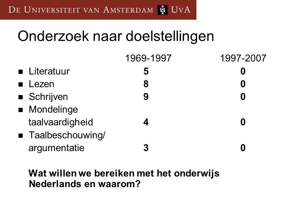 Onderzoek naar doelstellingen 1969-1997 1997-2007 Literatuur 50 Lezen 8 0 Schrijven 9 0 Mondelinge taalvaardigheid 40 Taalbeschouwing/ argumentatie 30