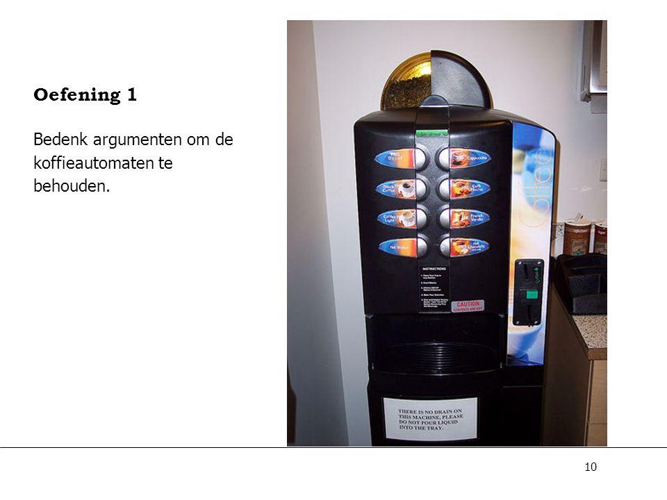 10 Oefening 1 Bedenk argumenten om de koffieautomaten te behouden.