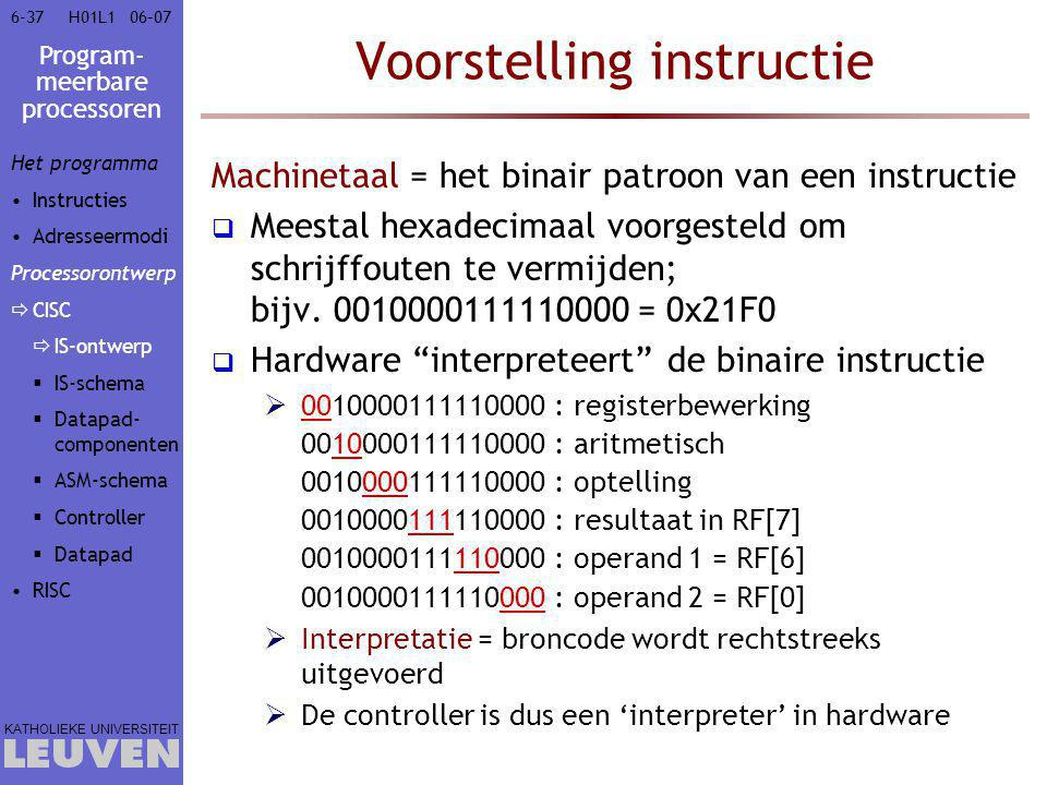 Program- meerbare processoren KATHOLIEKE UNIVERSITEIT 6-3706–07H01L1 Voorstelling instructie Machinetaal = het binair patroon van een instructie  Meestal hexadecimaal voorgesteld om schrijffouten te vermijden; bijv.