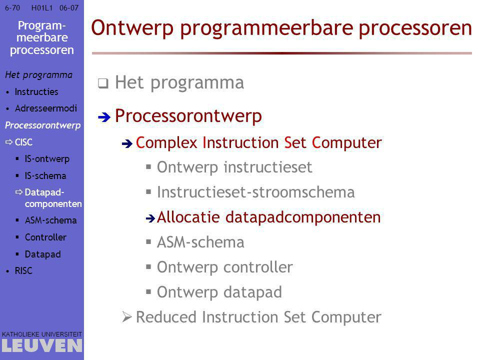 Program- meerbare processoren KATHOLIEKE UNIVERSITEIT 6-7006–07H01L1 Ontwerp programmeerbare processoren  Het programma  Processorontwerp  Complex Instruction Set Computer  Ontwerp instructieset  Instructieset-stroomschema  Allocatie datapadcomponenten  ASM-schema  Ontwerp controller  Ontwerp datapad  Reduced Instruction Set Computer Het programma Instructies Adresseermodi Processorontwerp  CISC  IS-ontwerp  IS-schema  Datapad- componenten  ASM-schema  Controller  Datapad RISC
