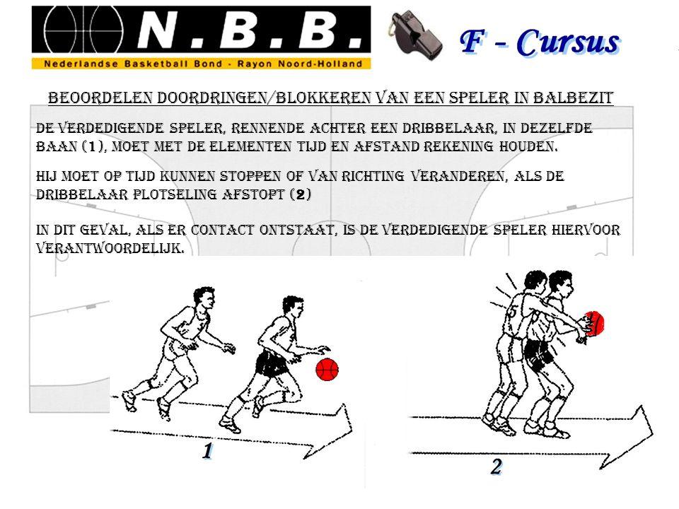 beoordelen doordringen/blokkeren van een speler in balbezit de verdedigende speler, rennende achter een dribbelaar, in dezelfde baan (1), moet met de