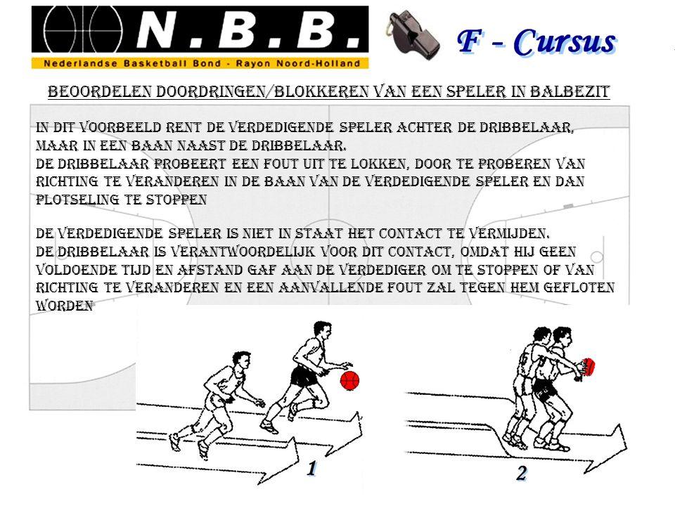 beoordelen doordringen/blokkeren van een speler in balbezit in dit voorbeeld rent de verdedigende speler achter de dribbelaar, maar in een baan naast