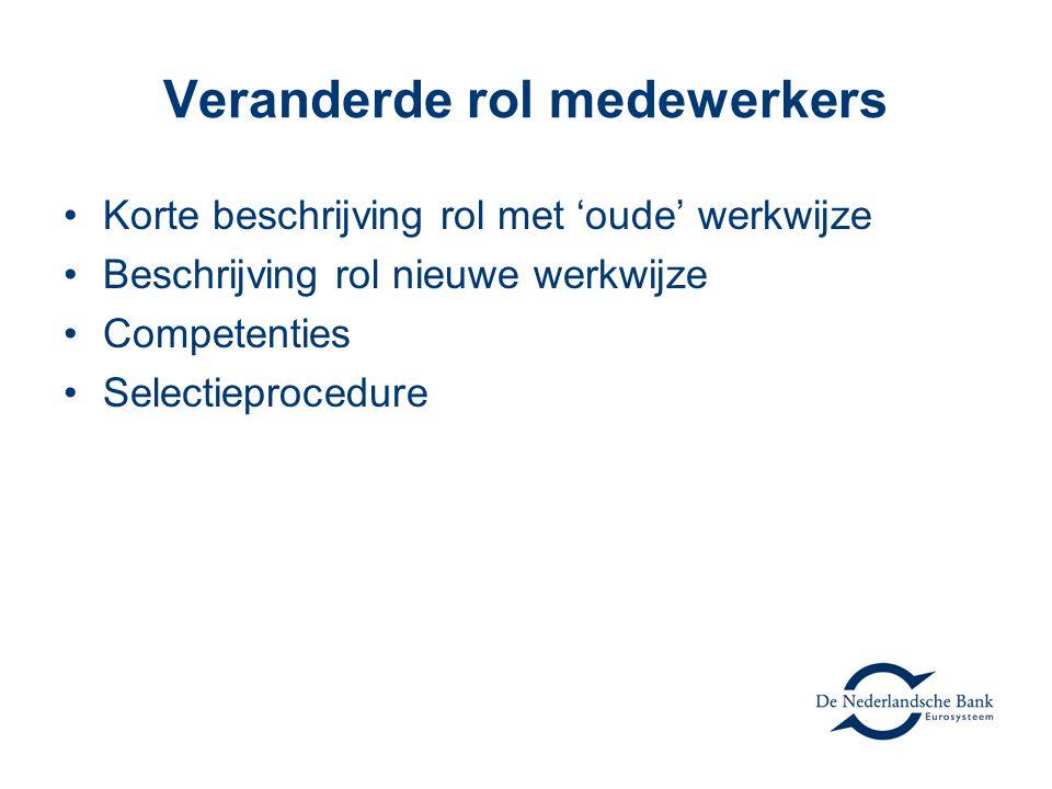 Veranderde rol medewerkers Korte beschrijving rol met 'oude' werkwijze Beschrijving rol nieuwe werkwijze Competenties Selectieprocedure