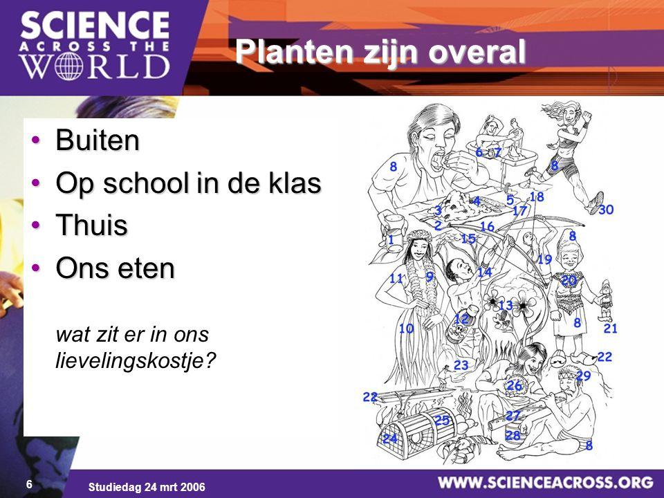 Studiedag 24 mrt 2006 6 Planten zijn overal BuitenBuiten Op school in de klasOp school in de klas ThuisThuis Ons etenOns eten wat zit er in ons lievel