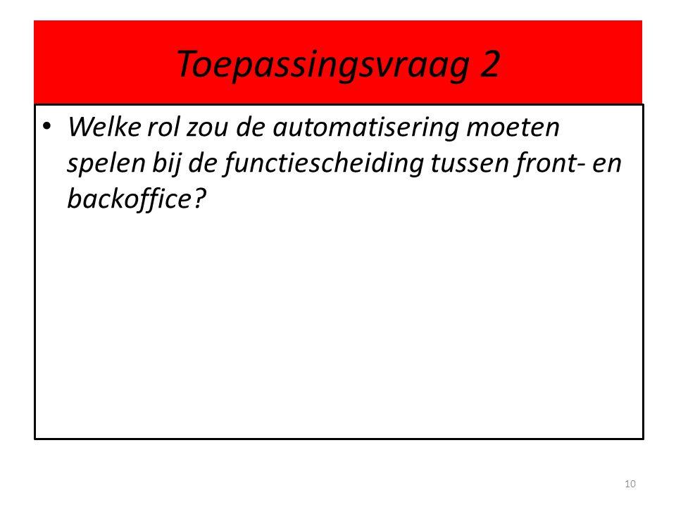 Toepassingsvraag 2 Welke rol zou de automatisering moeten spelen bij de functiescheiding tussen front- en backoffice.