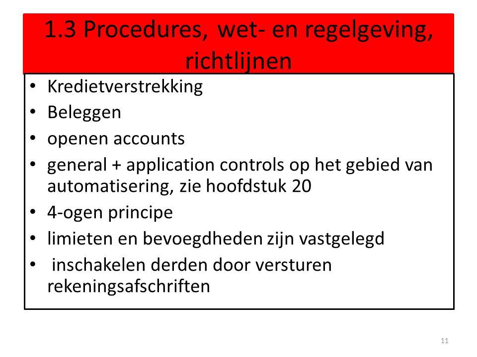 1.3 Procedures, wet- en regelgeving, richtlijnen Kredietverstrekking Beleggen openen accounts general + application controls op het gebied van automatisering, zie hoofdstuk 20 4-ogen principe limieten en bevoegdheden zijn vastgelegd inschakelen derden door versturen rekeningsafschriften 11