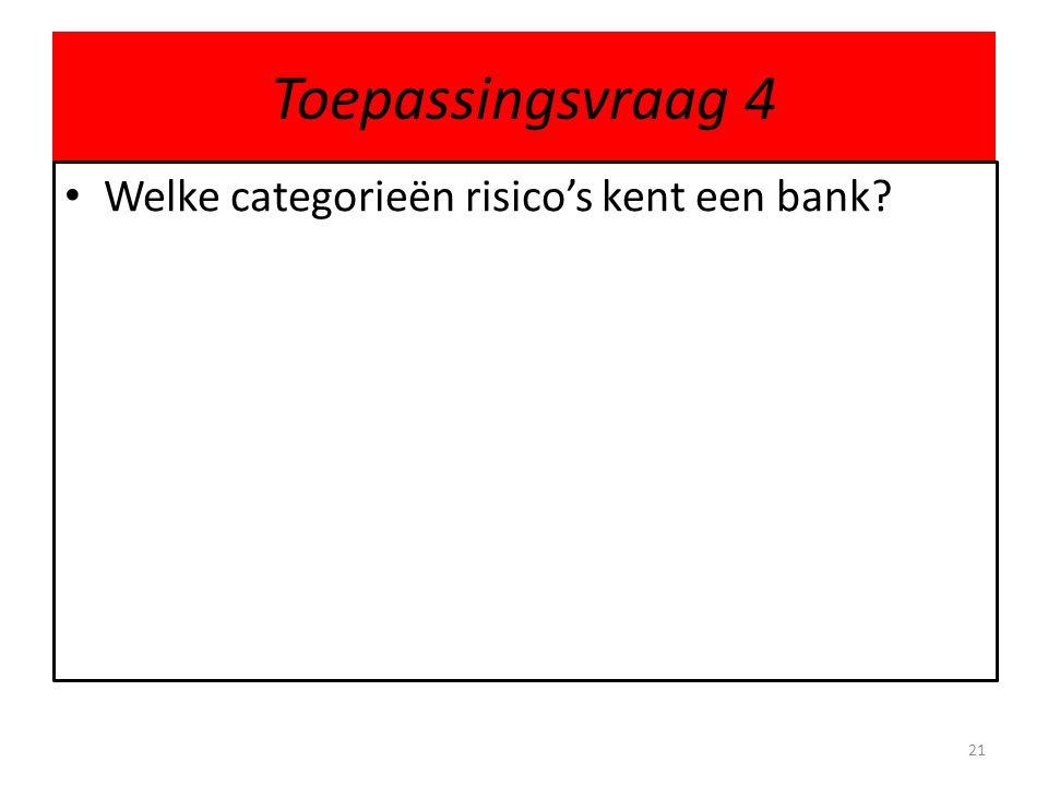Toepassingsvraag 4 Welke categorieën risico's kent een bank? 21