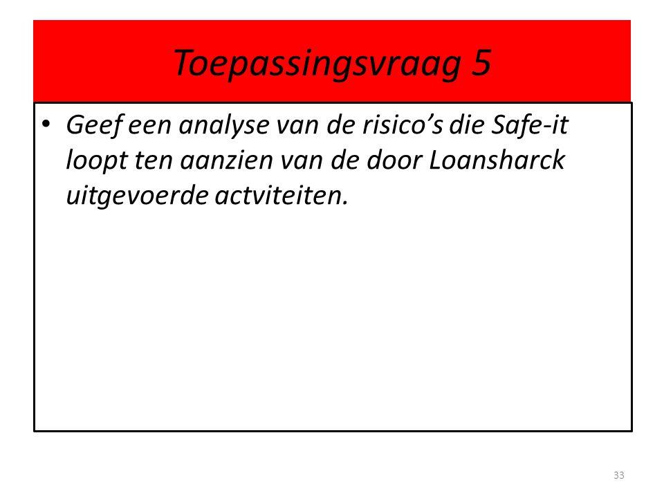 Toepassingsvraag 5 Geef een analyse van de risico's die Safe-it loopt ten aanzien van de door Loansharck uitgevoerde actviteiten.