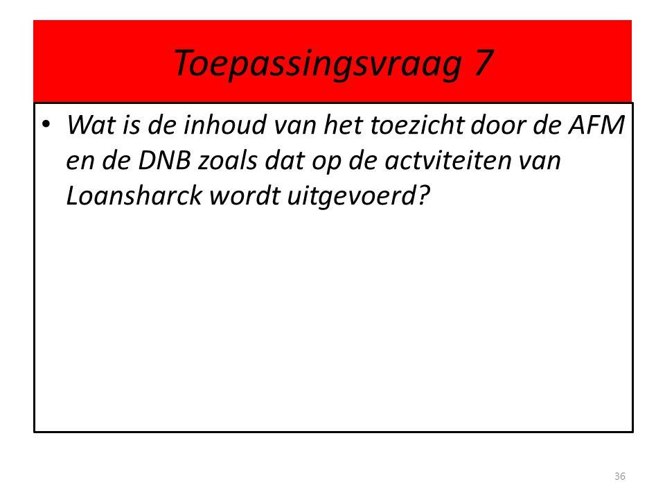 Toepassingsvraag 7 Wat is de inhoud van het toezicht door de AFM en de DNB zoals dat op de actviteiten van Loansharck wordt uitgevoerd.