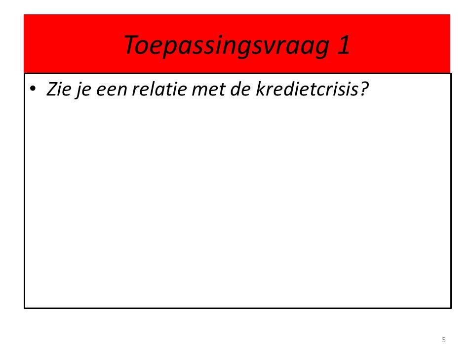 Toepassingsvraag 1 Zie je een relatie met de kredietcrisis? 5