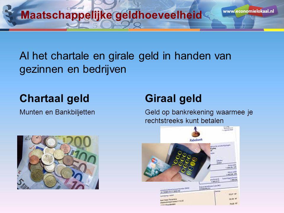 www.economielokaal.nl Al het chartale en girale geld in handen van gezinnen en bedrijven Maatschappelijke geldhoeveelheid Chartaal geld Munten en Bank