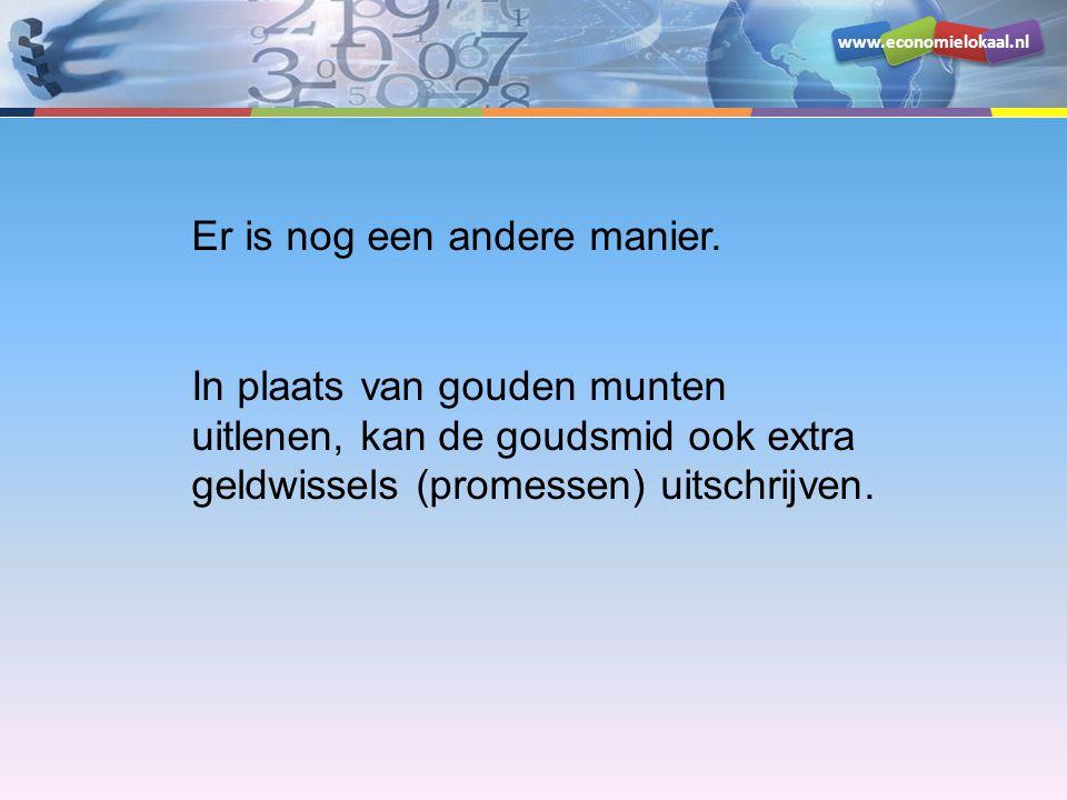 www.economielokaal.nl Bezit Schuld Goud100Geldwissel500 Debiteuren400 De goudsmid gebruikt nog steeds een dekking van 20% Bezit Schuld Goud100Geldwissel100 Hoeveel geldwissels kan hij uitgeven/uitlenen.